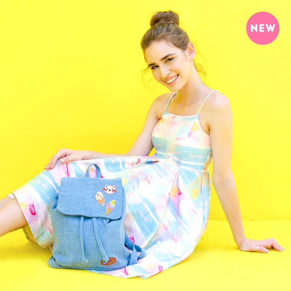 Rayne Basic Ladies Backpack (Light Wash Denim)
