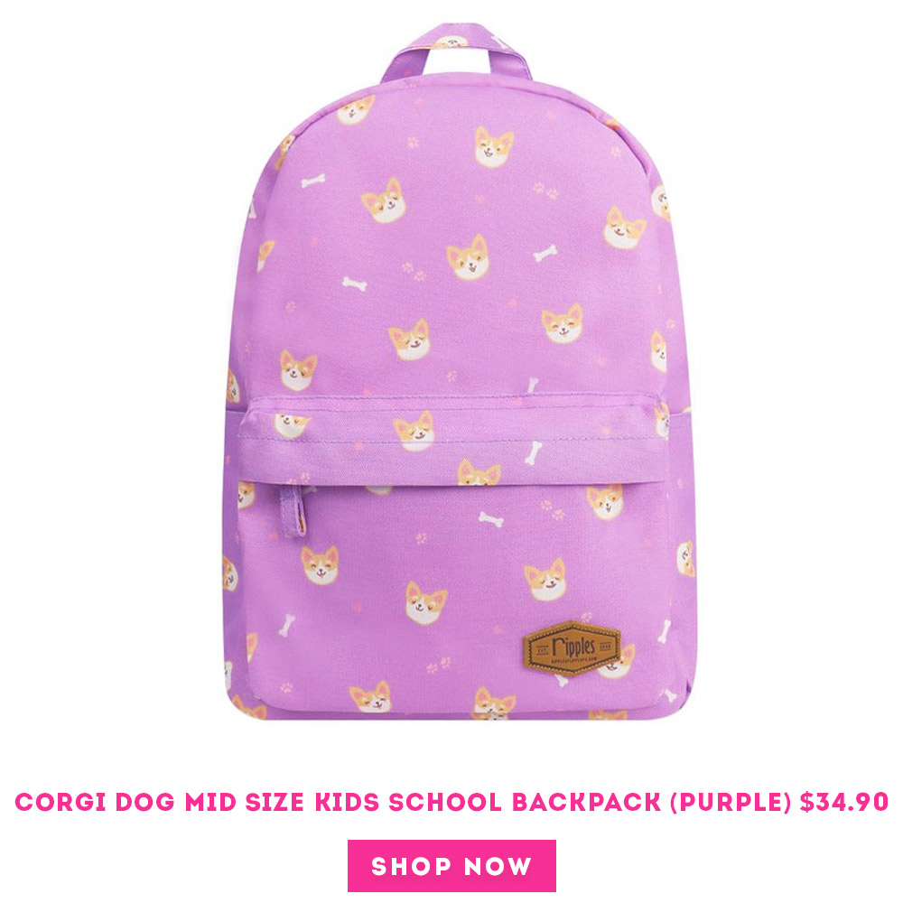 Corgi Dog Mid Sized Kids School Backpack