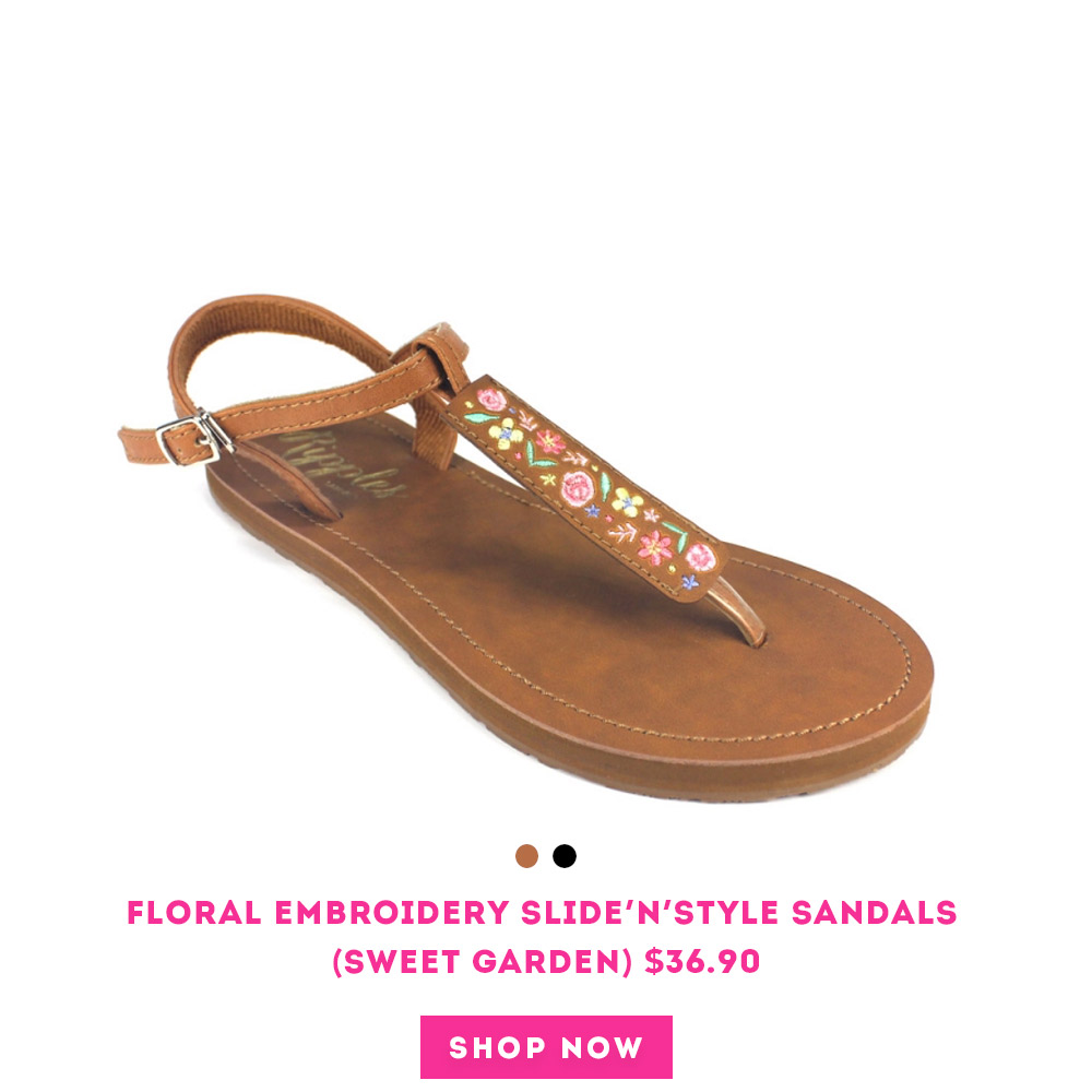 Floral Embroidery Slide'N'Style T-Bar Sandals (Sweet Garden)