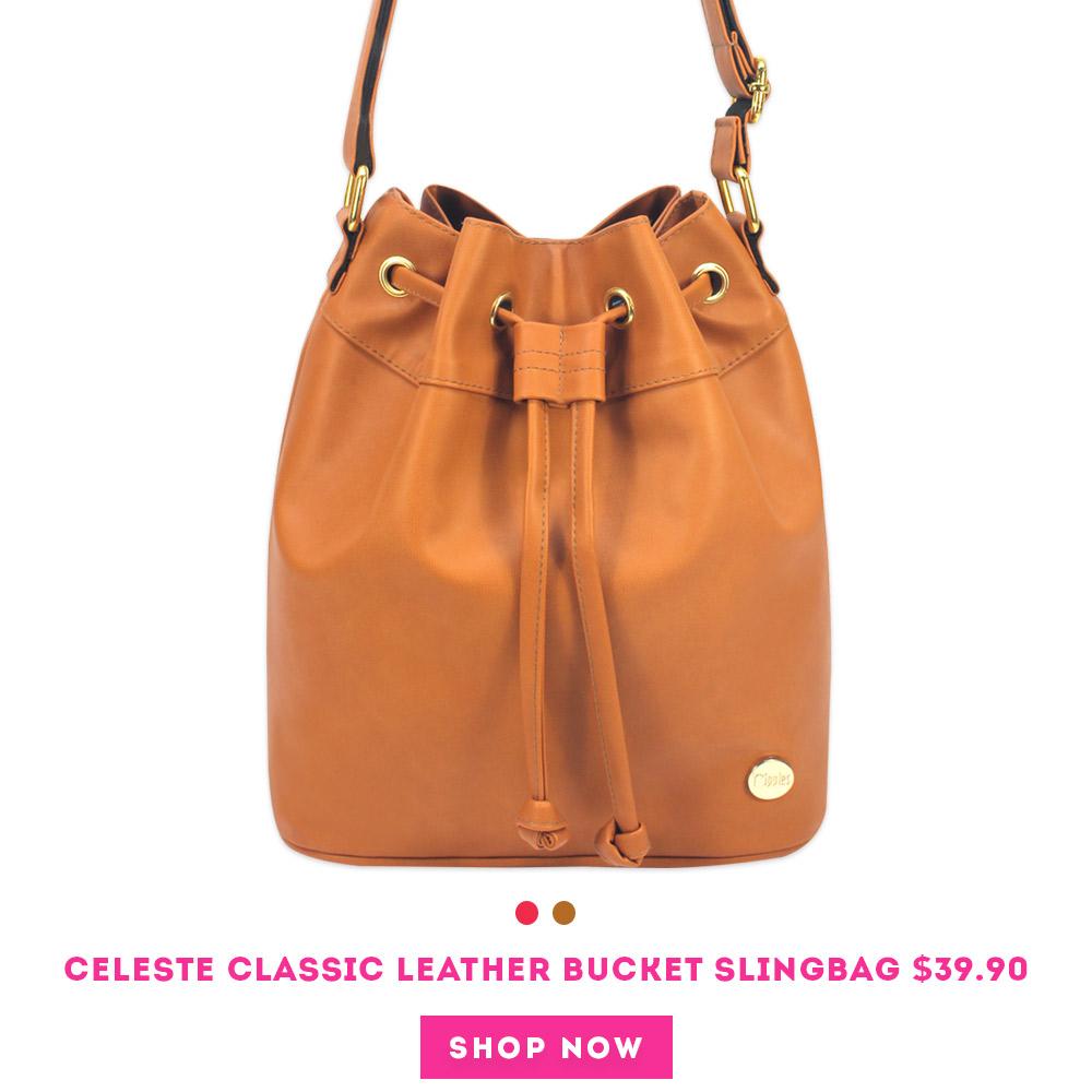 Celeste Classic Leather Bucket Sling Bag