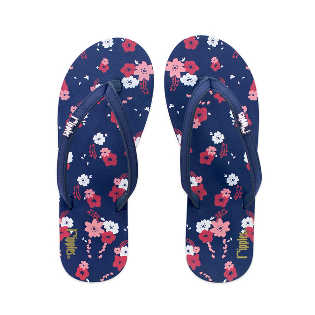 [SALE] Lyla Florals Ladies Flip Flops (Navy Blue)