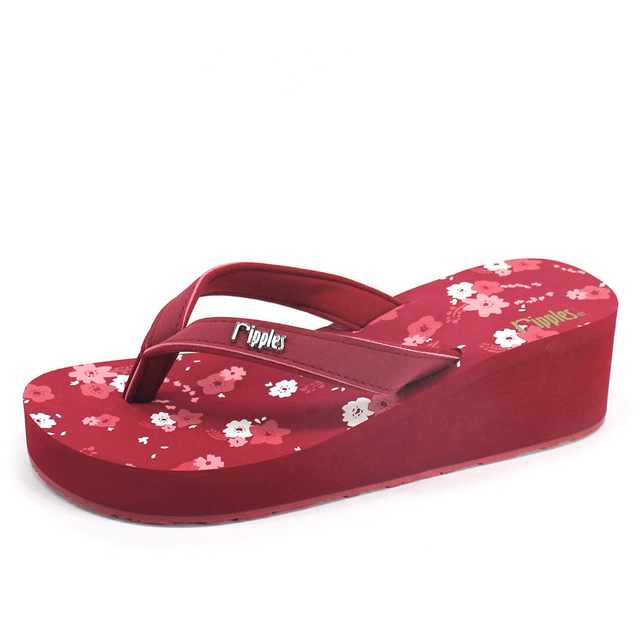 [PROMO] Lyla Floral Ladies Wedges (Maroon)