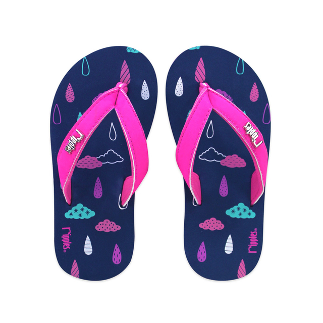 [SALE]  Raindrops Clouds Little Kids Flip Flops (Navy Blue)
