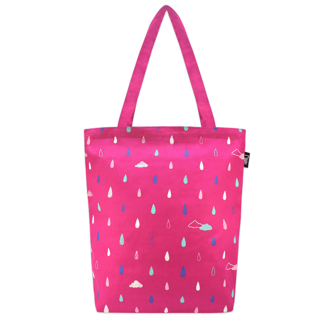 [PROMO] Raindrops Clouds Rectangle Tote Bag (Pink)