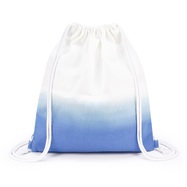 Ombré Gradient Ladies Drawstring Backpack (Blue)