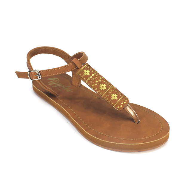 Tara Aztec Slide'N'Style T-Bar Sandals (Gold)