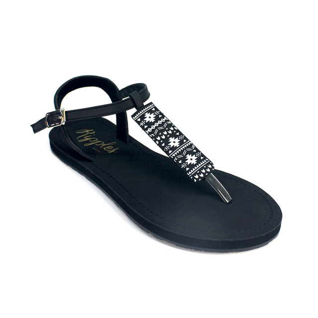 Tara Aztec Slide'N'Style T-Bar Sandals (Black)
