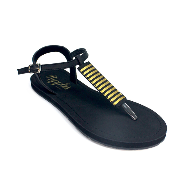 Clio Stripes Slide'N'Style T-Bar Sandals (Black)