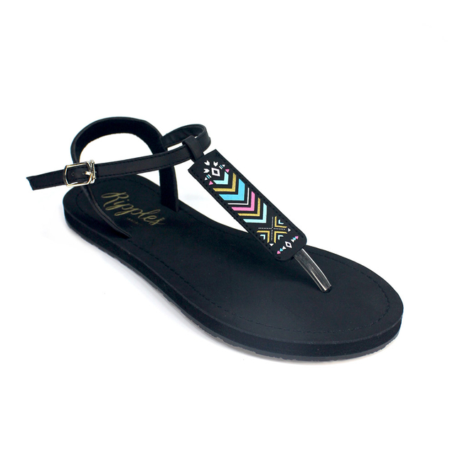 Arika Aztec Slide'N'Style T-Bar Sandals (Black)