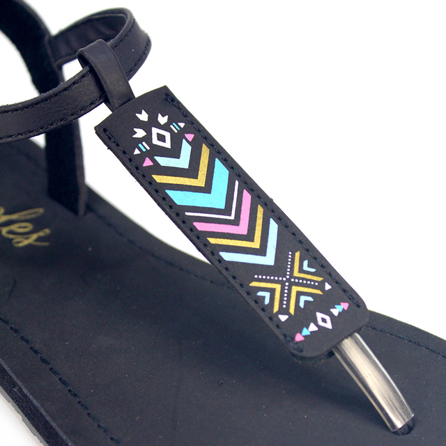 [SALE] Arika Aztec Slide'N'Style T-Bar Sandals (Black)