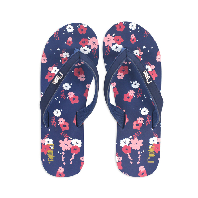 Lyla Floral Ladies Wedges (Navy Blue)