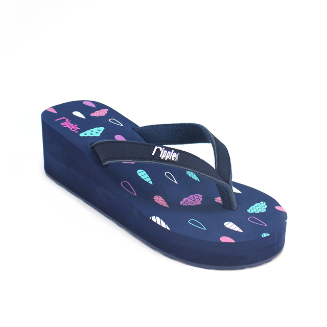 [PROMO] Raindrops Clouds Ladies Wedges (Navy Blue)