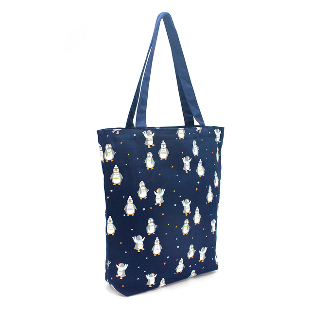 [PROMO] Penguins Rectangle Tote Bag (Navy Blue)