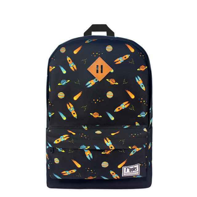 Space Rockets School Backpack (Black)