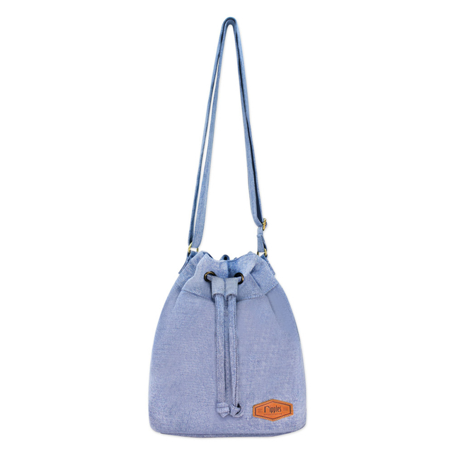 Chloe Basic Bucket Sling Bag (Light Wash Denim)