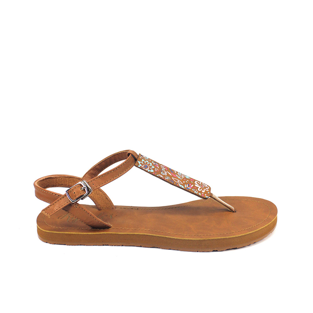 Livia Floral Slide'N'Style T-Bar Sandals (Multi)