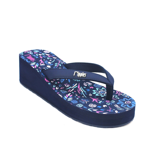 [PROMO] Livia Floral Ladies Wedges (Navy Blue)
