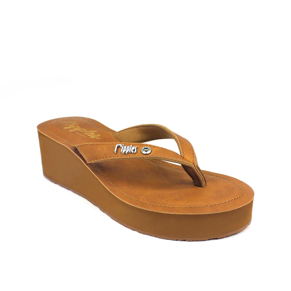 78bf8bfbda67 Pearlyn Diamond Stud Leather Ladies Sandal Wedges (Brown)