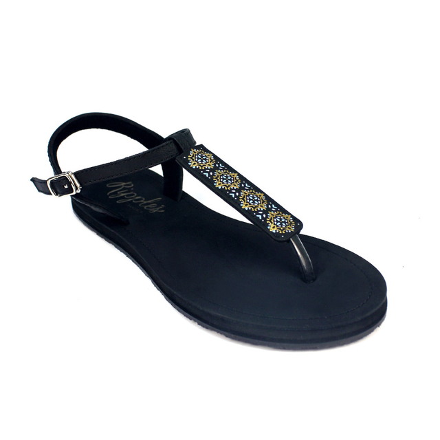Amaris Slide'N'Style T-Bar Sandals (Midnight Glow Black)