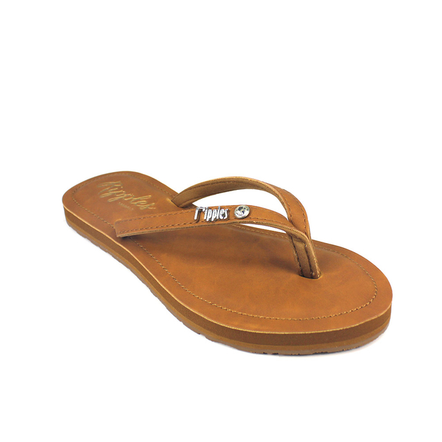 [PROMO] Pearlyn Diamond Stud Leather Ladies Sandals (Brown)