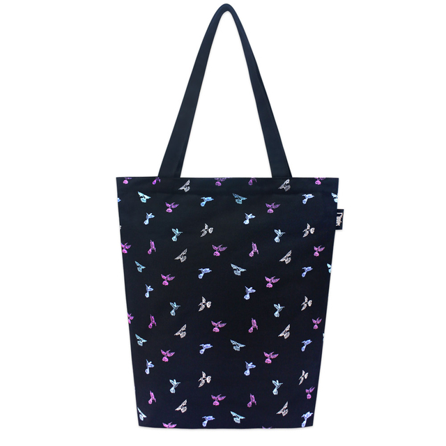 [PROMO] Hummingbirds Rectangle Tote Bag (Black)