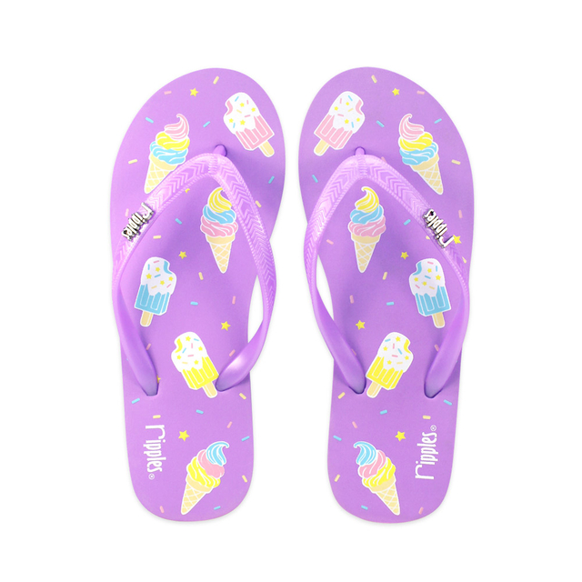 Ice Cream Ladies Flip Flops (Purple)