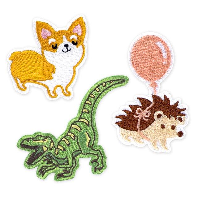 BUNDLED [3 for $10] Iron-On Patch (Corgi Dog, Dinosaur, Hedgehog)