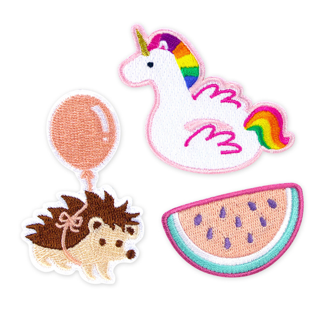 BUNDLED [3 for $10] Iron-On Patch (Unicorn Float, Hedgehog, Watermelon)