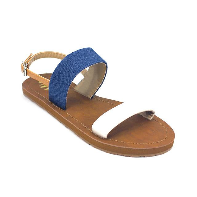 [PROMO] Isabel Double Strap Sandals (Denim White)