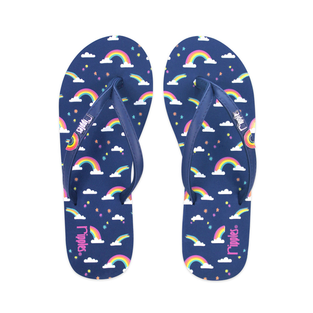 Rainbow Ladies Flip Flops (Navy Blue)