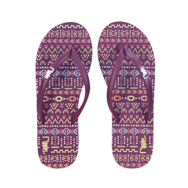 [SALE] Arika Aztec Ladies Flip Flops (Maroon Purple)