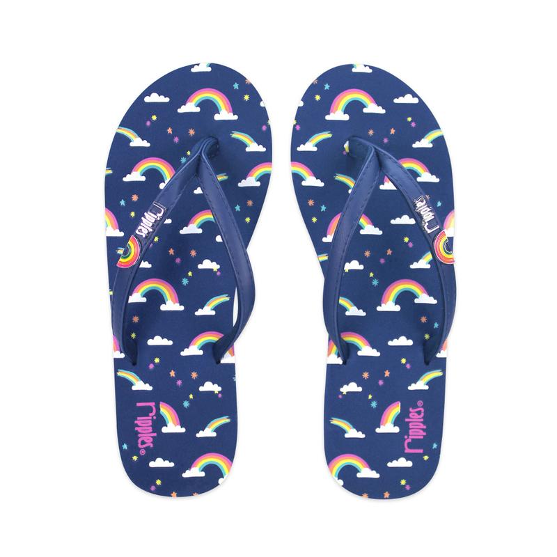 Rainbow Ladies Flip Flops (Navy Blue