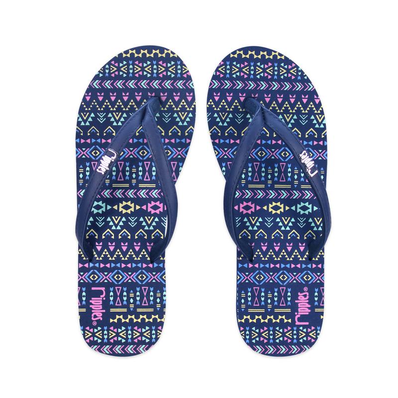 589dfa7aed8d0 Arika Aztec Ladies Flip Flops (Navy Blue)