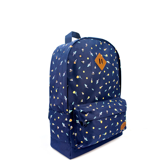 [SALE] Little Florals School Backpack (Navy Blue)