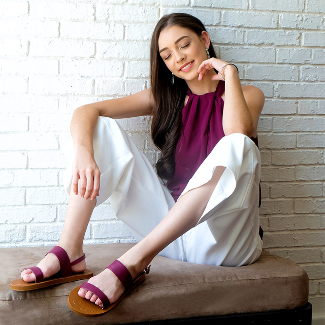 [PROMO] Isabel Double Strap Sandals (Maroon)