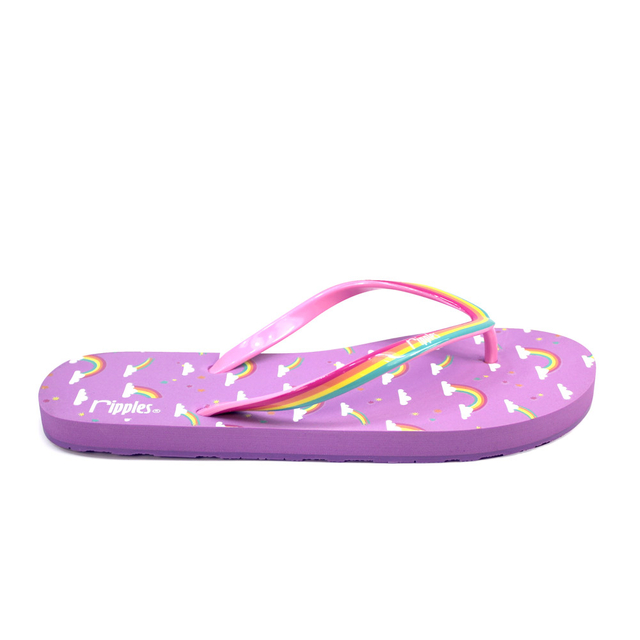 Rainbow Ladies Flip Flops (Purple)