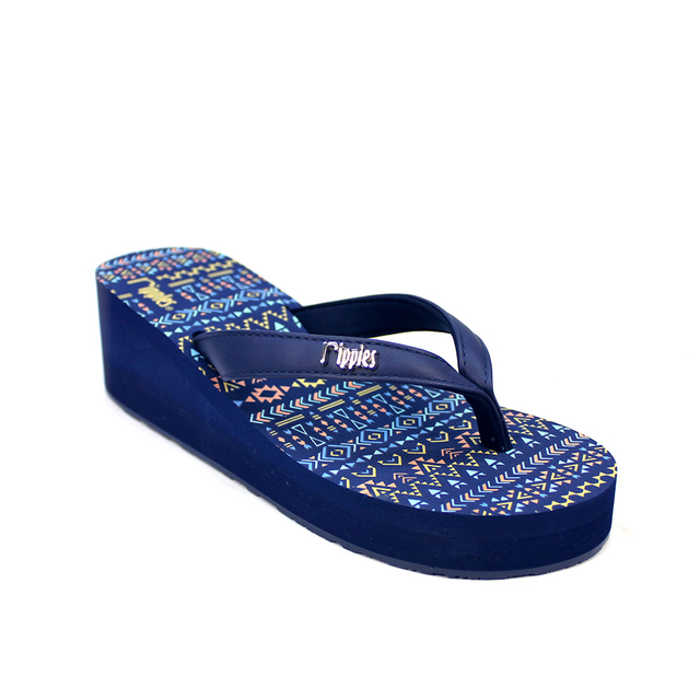 Arika Aztec Ladies Wedges (Navy Blue)