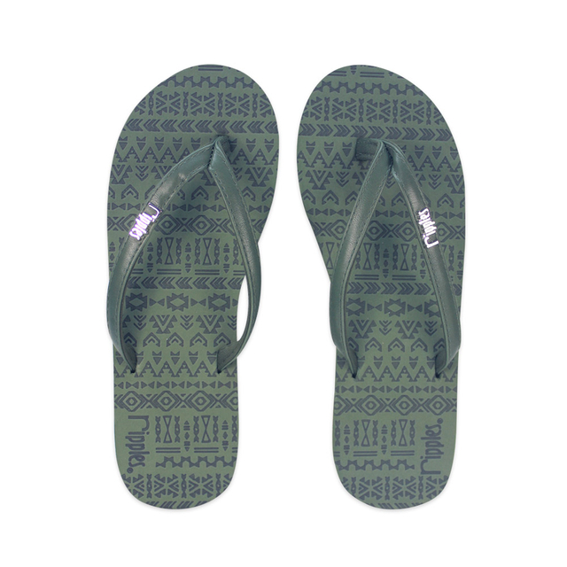 Arika Aztec Laser Ladies Flip Flops (Dark Green)