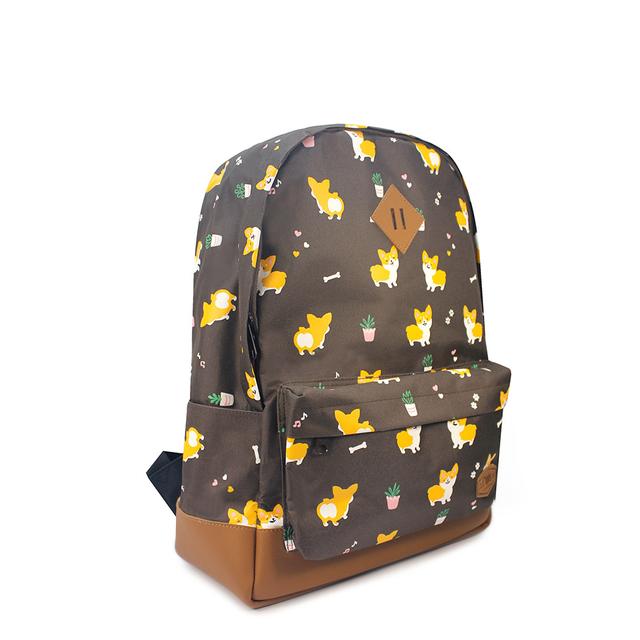 Corgi Dog School Backpack (Brown)