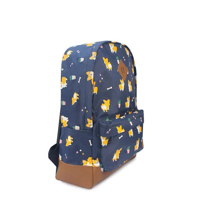 Corgi Dog School Backpack (Navy Blue)