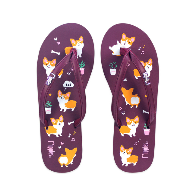 [SALE] Corgi Dog Ladies Flip Flops (Maroon Purple)