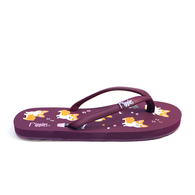 Corgi Dog Ladies Flip Flops (Maroon Purple)