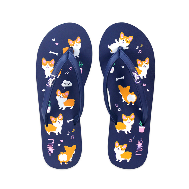 Corgi Dog Ladies Flip Flops (Navy Blue)