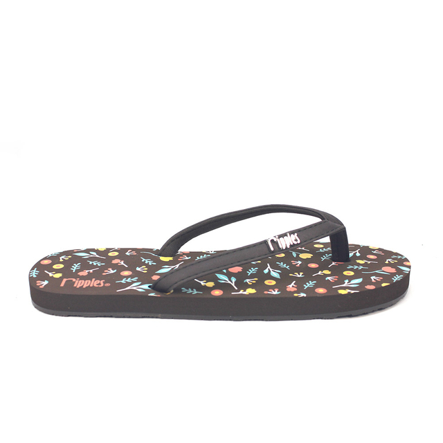 [SALE] Little Florals Ladies Flip Flops (Brown)