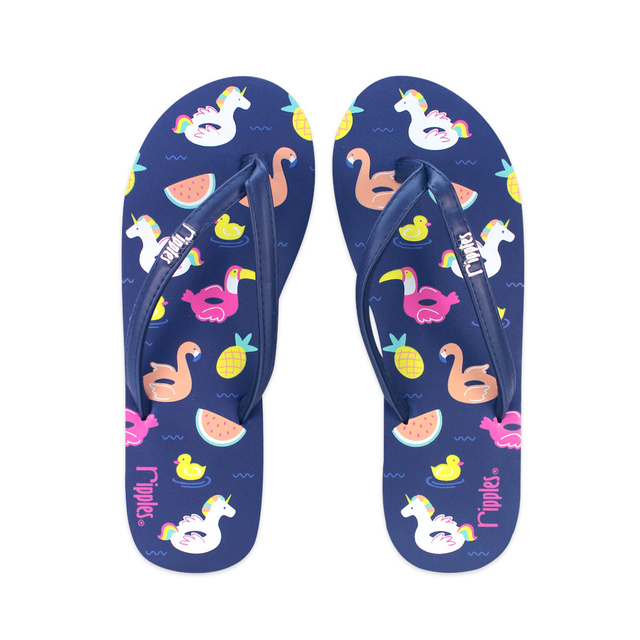 Summer Floats Ladies Flip Flops (Navy Blue)
