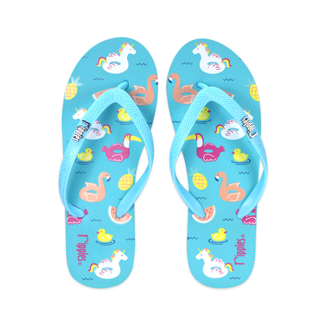 Summer Floats Ladies Flip Flops (Teal)