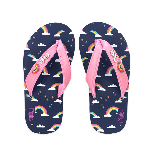 Rainbow Little Kids Flip Flops (Navy Blue)