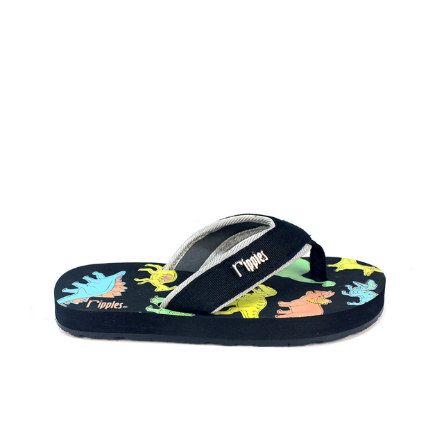 Dinosaur Little Kids Flip Flops (Black)