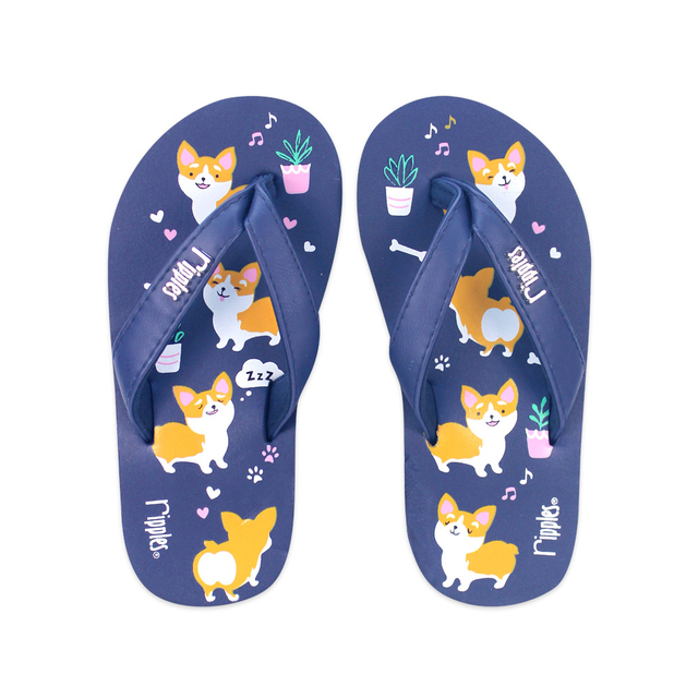 Corgi Dog Little Kids Flip Flops (Navy Blue)