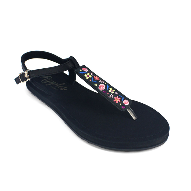 Floral Embroidery Slide'N'Style T-Bar Sandals (Midnight Garden)